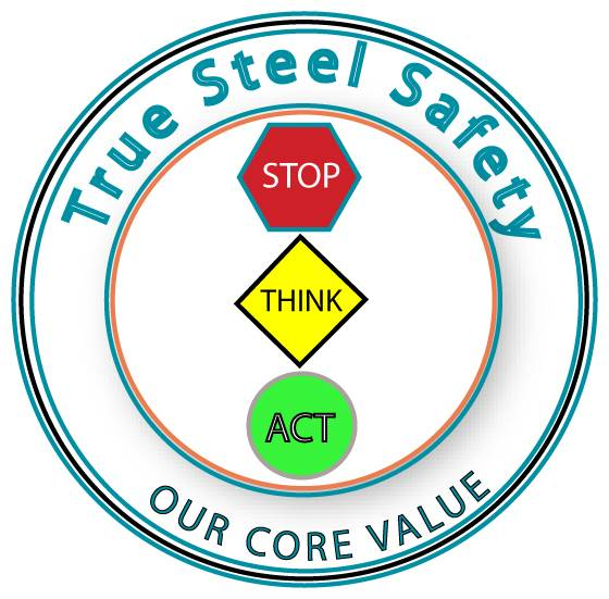 Image to show safety is our core value consisting of stop, listen, then act.